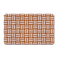 Woven1 White Marble & Rusted Metal Magnet (rectangular)