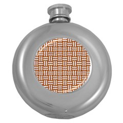 WOVEN1 WHITE MARBLE & RUSTED METAL Round Hip Flask (5 oz)