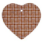WOVEN1 WHITE MARBLE & RUSTED METAL Heart Ornament (Two Sides) Front
