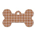 WOVEN1 WHITE MARBLE & RUSTED METAL Dog Tag Bone (One Side) Front