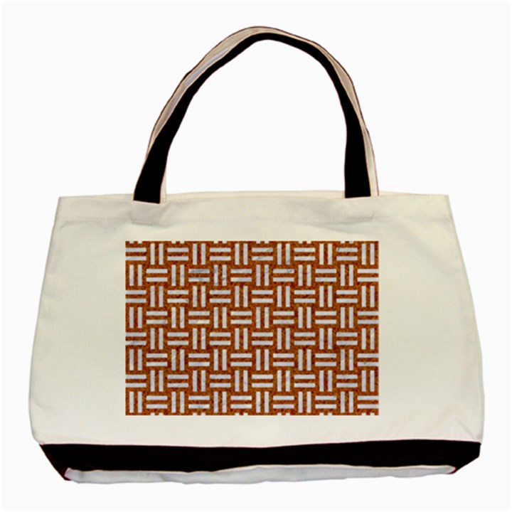 WOVEN1 WHITE MARBLE & RUSTED METAL Basic Tote Bag (Two Sides)