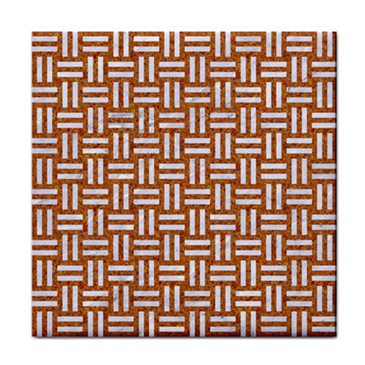 WOVEN1 WHITE MARBLE & RUSTED METAL Face Towel