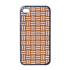 Woven1 White Marble & Rusted Metal Apple Iphone 4 Case (black) by trendistuff