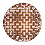 WOVEN1 WHITE MARBLE & RUSTED METAL Ornament (Round Filigree) Front