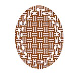 WOVEN1 WHITE MARBLE & RUSTED METAL Ornament (Oval Filigree) Front