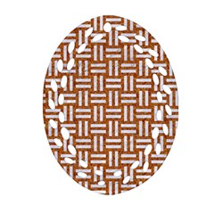 WOVEN1 WHITE MARBLE & RUSTED METAL Oval Filigree Ornament (Two Sides)