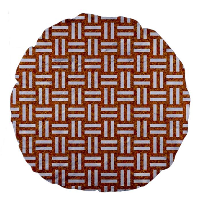 WOVEN1 WHITE MARBLE & RUSTED METAL Large 18  Premium Round Cushions