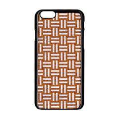 Woven1 White Marble & Rusted Metal Apple Iphone 6/6s Black Enamel Case by trendistuff