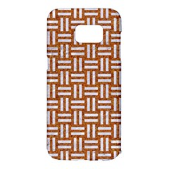 Woven1 White Marble & Rusted Metal Samsung Galaxy S7 Edge Hardshell Case by trendistuff