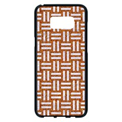 Woven1 White Marble & Rusted Metal Samsung Galaxy S8 Plus Black Seamless Case by trendistuff