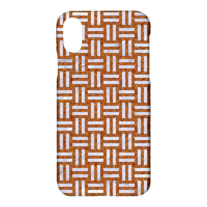 WOVEN1 WHITE MARBLE & RUSTED METAL Apple iPhone X Hardshell Case