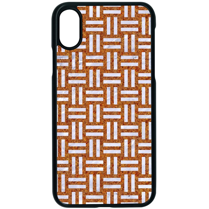 WOVEN1 WHITE MARBLE & RUSTED METAL Apple iPhone X Seamless Case (Black)