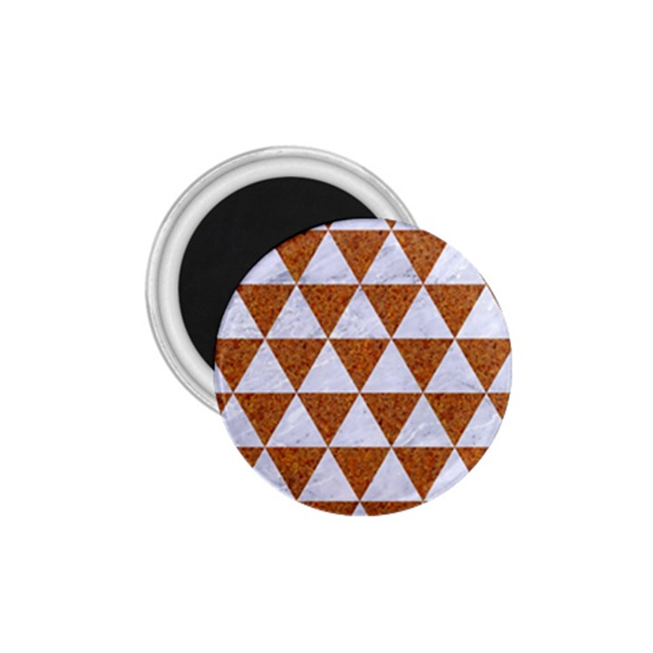 TRIANGLE3 WHITE MARBLE & RUSTED METAL 1.75  Magnets