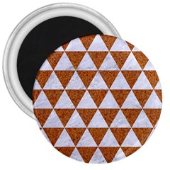 Triangle3 White Marble & Rusted Metal 3  Magnets by trendistuff