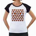 TRIANGLE3 WHITE MARBLE & RUSTED METAL Women s Cap Sleeve T Front