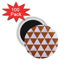 Triangle3 White Marble & Rusted Metal 1 75  Magnets (100 Pack)