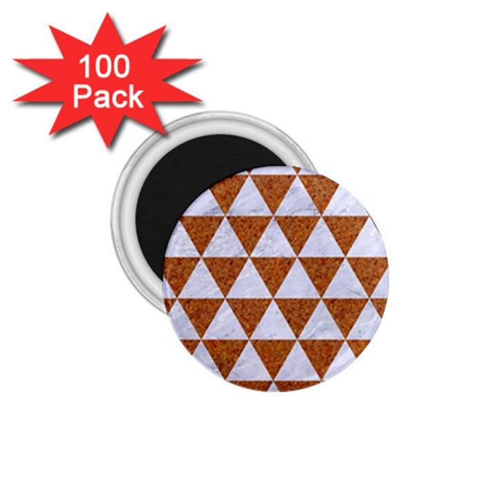 TRIANGLE3 WHITE MARBLE & RUSTED METAL 1.75  Magnets (100 pack)