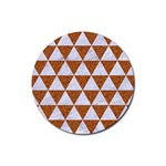 TRIANGLE3 WHITE MARBLE & RUSTED METAL Rubber Coaster (Round)  Front
