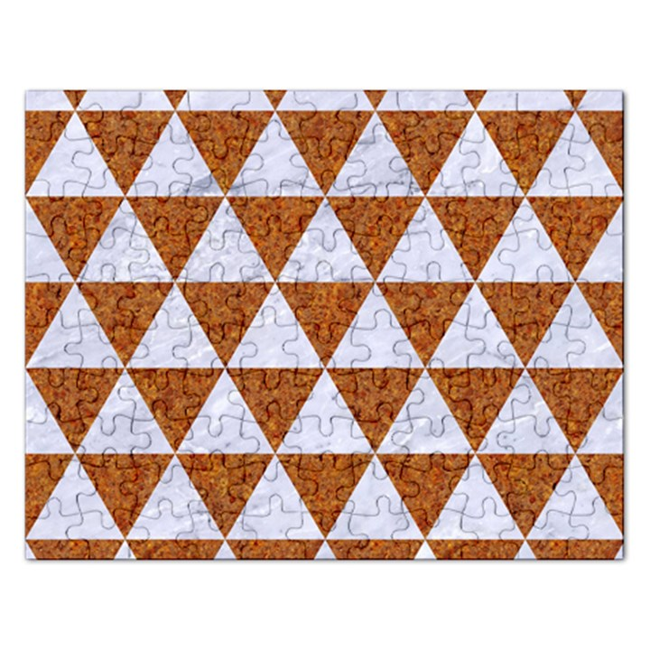 TRIANGLE3 WHITE MARBLE & RUSTED METAL Rectangular Jigsaw Puzzl