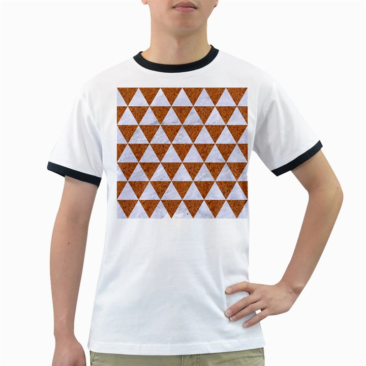 TRIANGLE3 WHITE MARBLE & RUSTED METAL Ringer T-Shirts