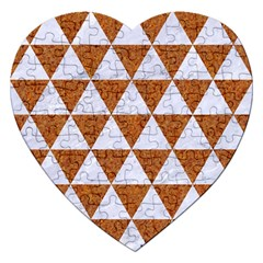 Triangle3 White Marble & Rusted Metal Jigsaw Puzzle (heart) by trendistuff