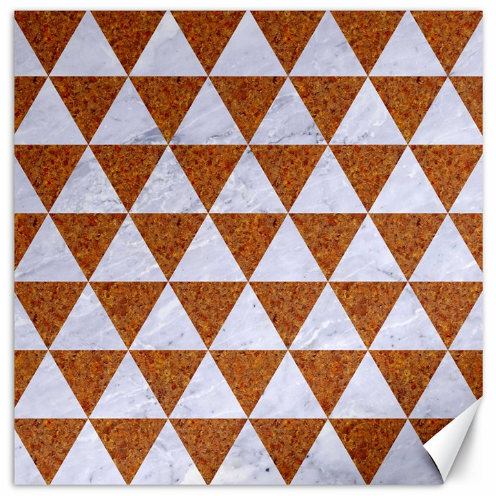 TRIANGLE3 WHITE MARBLE & RUSTED METAL Canvas 16  x 16
