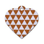 TRIANGLE3 WHITE MARBLE & RUSTED METAL Dog Tag Heart (One Side) Front