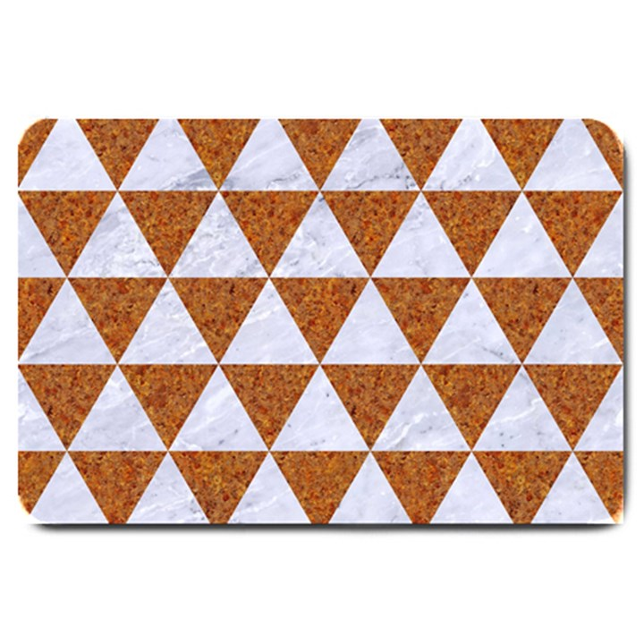TRIANGLE3 WHITE MARBLE & RUSTED METAL Large Doormat