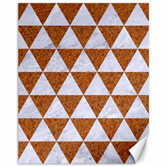 Triangle3 White Marble & Rusted Metal Canvas 11  X 14