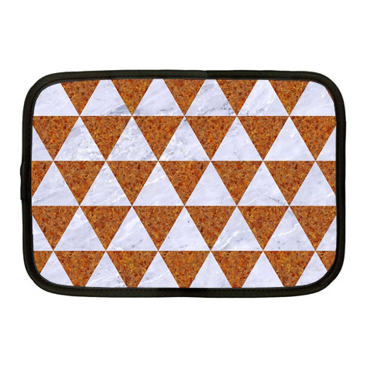TRIANGLE3 WHITE MARBLE & RUSTED METAL Netbook Case (Medium)