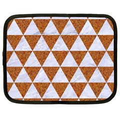 Triangle3 White Marble & Rusted Metal Netbook Case (large) by trendistuff