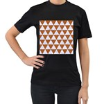 TRIANGLE3 WHITE MARBLE & RUSTED METAL Women s T-Shirt (Black) Front
