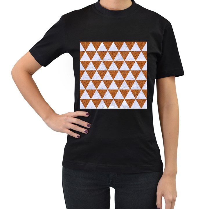 TRIANGLE3 WHITE MARBLE & RUSTED METAL Women s T-Shirt (Black)
