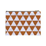 TRIANGLE3 WHITE MARBLE & RUSTED METAL Cosmetic Bag (Large)  Back