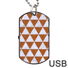 Triangle3 White Marble & Rusted Metal Dog Tag Usb Flash (one Side)