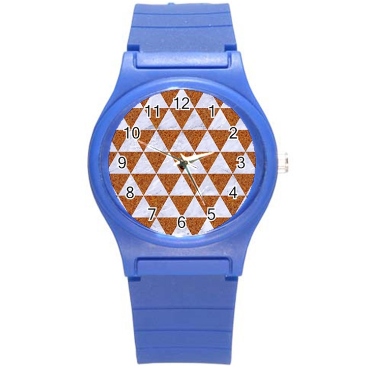 TRIANGLE3 WHITE MARBLE & RUSTED METAL Round Plastic Sport Watch (S)