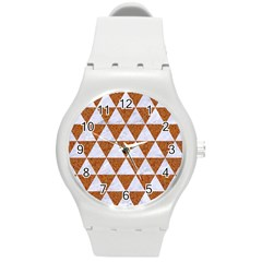 Triangle3 White Marble & Rusted Metal Round Plastic Sport Watch (m) by trendistuff
