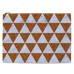 Triangle3 White Marble & Rusted Metal Cosmetic Bag (xxl)