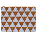 TRIANGLE3 WHITE MARBLE & RUSTED METAL Cosmetic Bag (XXL)  Front