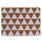 TRIANGLE3 WHITE MARBLE & RUSTED METAL Cosmetic Bag (XXL)  Back