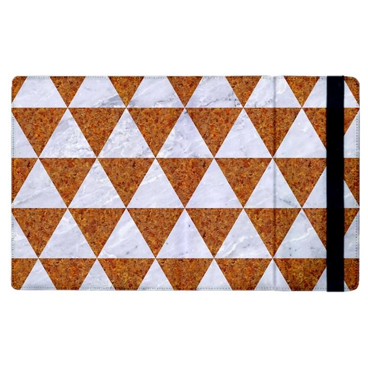 TRIANGLE3 WHITE MARBLE & RUSTED METAL Apple iPad 3/4 Flip Case