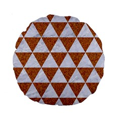 Triangle3 White Marble & Rusted Metal Standard 15  Premium Round Cushions