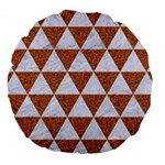 TRIANGLE3 WHITE MARBLE & RUSTED METAL Large 18  Premium Round Cushions Front