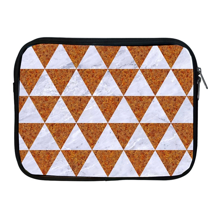 TRIANGLE3 WHITE MARBLE & RUSTED METAL Apple iPad 2/3/4 Zipper Cases