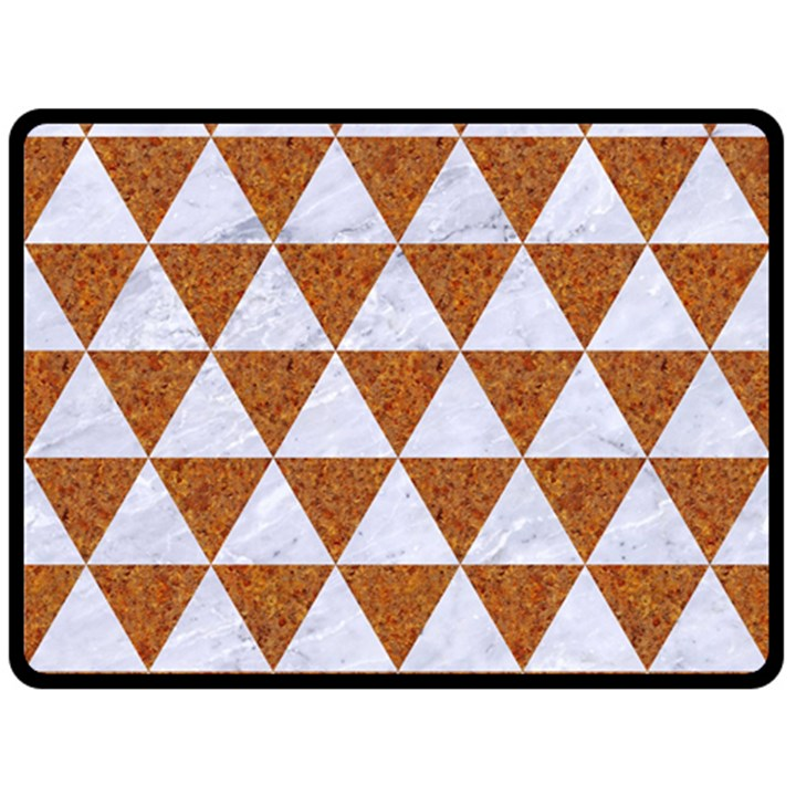 TRIANGLE3 WHITE MARBLE & RUSTED METAL Double Sided Fleece Blanket (Large)