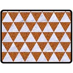 TRIANGLE3 WHITE MARBLE & RUSTED METAL Double Sided Fleece Blanket (Large)  80 x60 Blanket Back