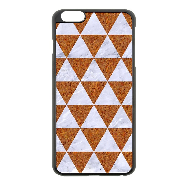 TRIANGLE3 WHITE MARBLE & RUSTED METAL Apple iPhone 6 Plus/6S Plus Black Enamel Case