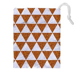Triangle3 White Marble & Rusted Metal Drawstring Pouches (xxl)