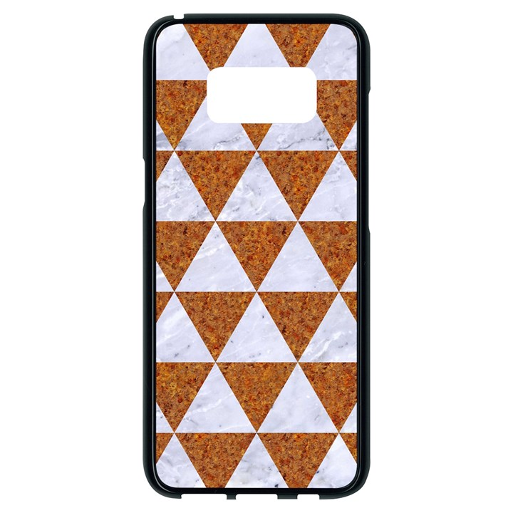 TRIANGLE3 WHITE MARBLE & RUSTED METAL Samsung Galaxy S8 Black Seamless Case
