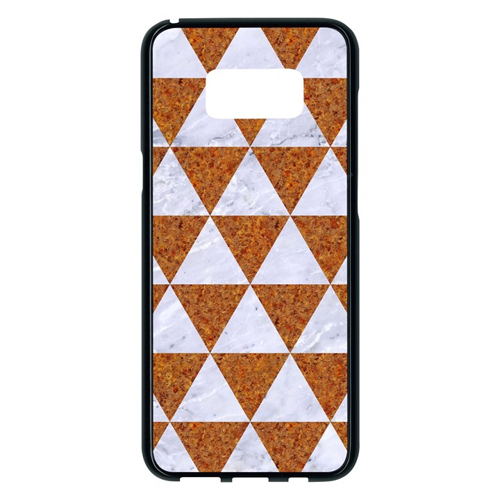 TRIANGLE3 WHITE MARBLE & RUSTED METAL Samsung Galaxy S8 Plus Black Seamless Case